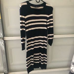 Navy and black striped sweater dress